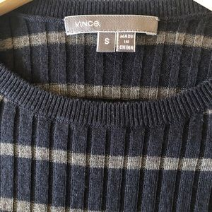VINCE Navy/Khaki Stripe Rib Sweater - Size Small